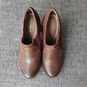 NATURALIZER Chocolate Brown Leather Heeled Booties